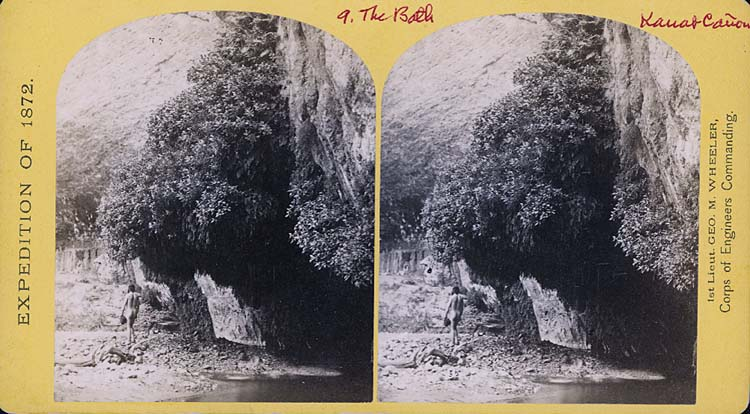 Naked guy in Kanab Canyon stereoview