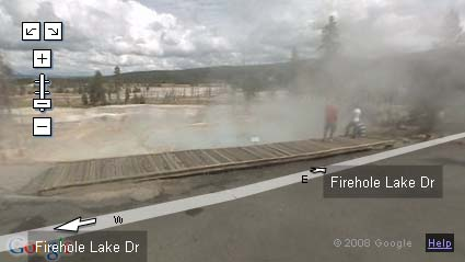 Google Street View along Firehold Drive Yellowstone