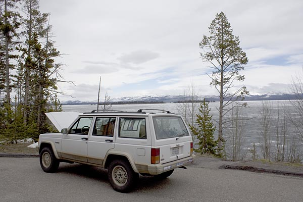 Broken down next to Lake Yellowstone