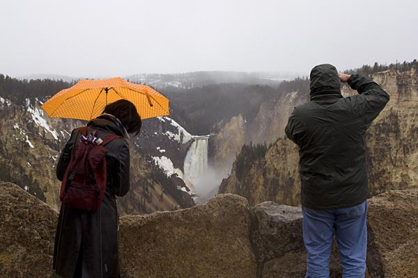 Tourists at the Lower Falls, Yellowstone River